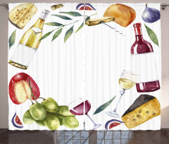 Watercolor Food Wine Frame Curtain