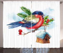 Christmas Bird Holly Pine Curtain