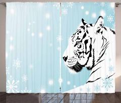 White Beast on Snowy Land Curtain