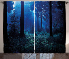 Misty Fall Nature Scenery Curtain
