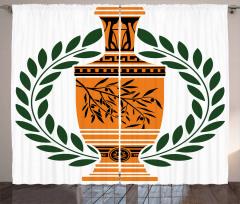 Greek Vase Laurel Curtain