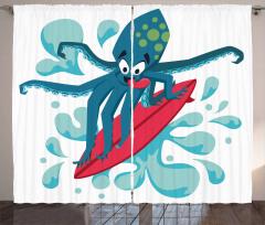 Surfer Octopus Curtain