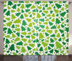 Fir Tree Silhouettes Curtain