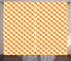 Orange Gingham Tile Curtain