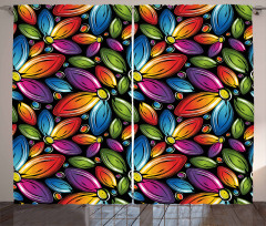 Colorful Flowers Vintage Curtain