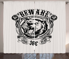 Beware Growling Animal Curtain
