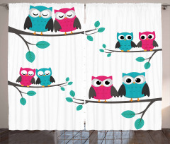 Couples of Owls on Tree Curtain