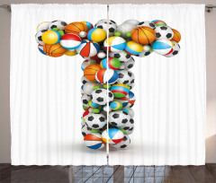 Big Small Game Balls Curtain