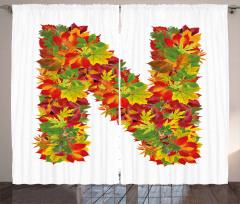Fall Maple Tree Leaves Curtain