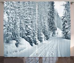 Ski Theme Snowy Road Curtain