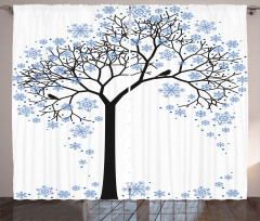 Tree with Snowflakes Curtain
