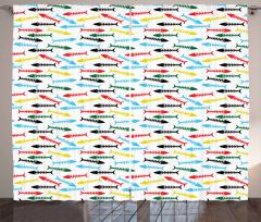 Cartoon Fish Bone Marine Curtain