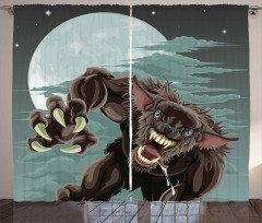 Night Skyline Werewolf Curtain