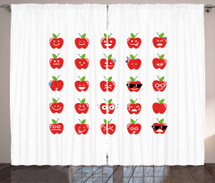 Apples with Faces Happy Curtain