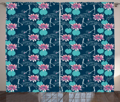 Dotted Birds Lilies Curtain