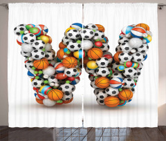 Sports Theme Balls Curtain