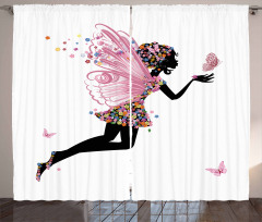 Floral Dressed Angel Curtain