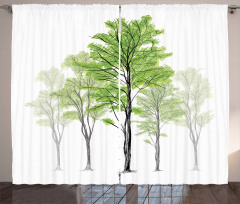 Hand Drawn Nature Motif Curtain