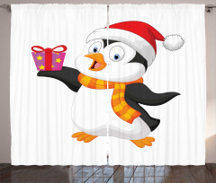 Friendly Penguin Character Curtain