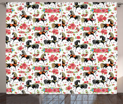 Abstract Floral Stallion Curtain