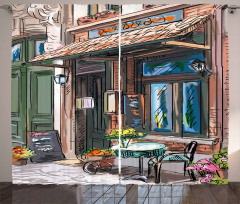 Street Paris Cafe Eating Curtain