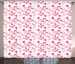 Pink Romance Pattern Curtain
