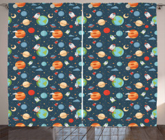 Cartoon Planets in Space Curtain