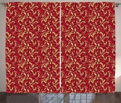Colored Foliage Pattern Curtain