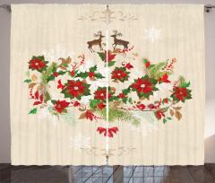 Flower Reindeer Motif Curtain