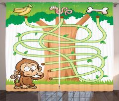 Curious Monkey Curtain
