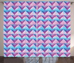 Retro Grunge Triangle Curtain