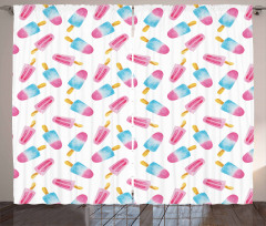 Watercolor Popsicles Curtain
