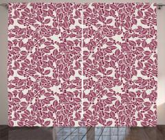 Monochrome Foliage Motif Curtain