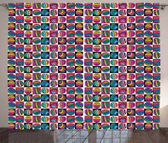 Checkered Doodle Eggs Curtain