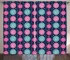 Festive Floral Circles Curtain