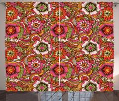 Motley Asian Spring Art Curtain