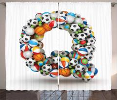 Gaming Balls ABC Font Curtain