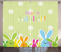 Colorful Cartoon Bunnies Curtain