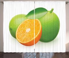 Lime Orange Design Curtain