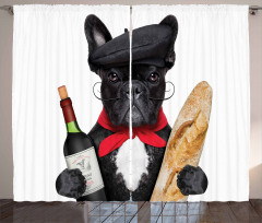 French Dog Red Wine Curtain