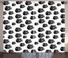 Black And White Fishes Curtain