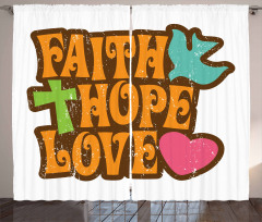 Grunge Faith Hope Quote Curtain