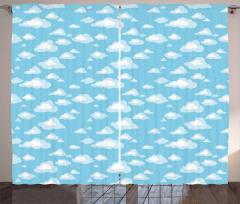 Cartoon Sky Clouds Curtain