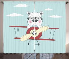 Pilot Bear in Plane Curtain