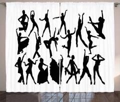 Dancer Silhouettes Curtain