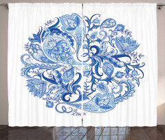 Paisley Circle in Blue Curtain