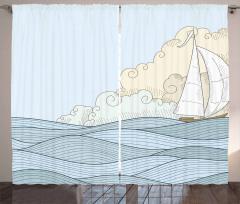 Doodle Style Ocean Curtain