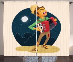 Cheerful Accordion Player Curtain