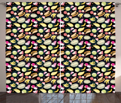 Graphic Exotic Fruits Curtain