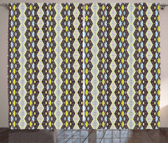 Abstract Zig Zag and Dots Curtain